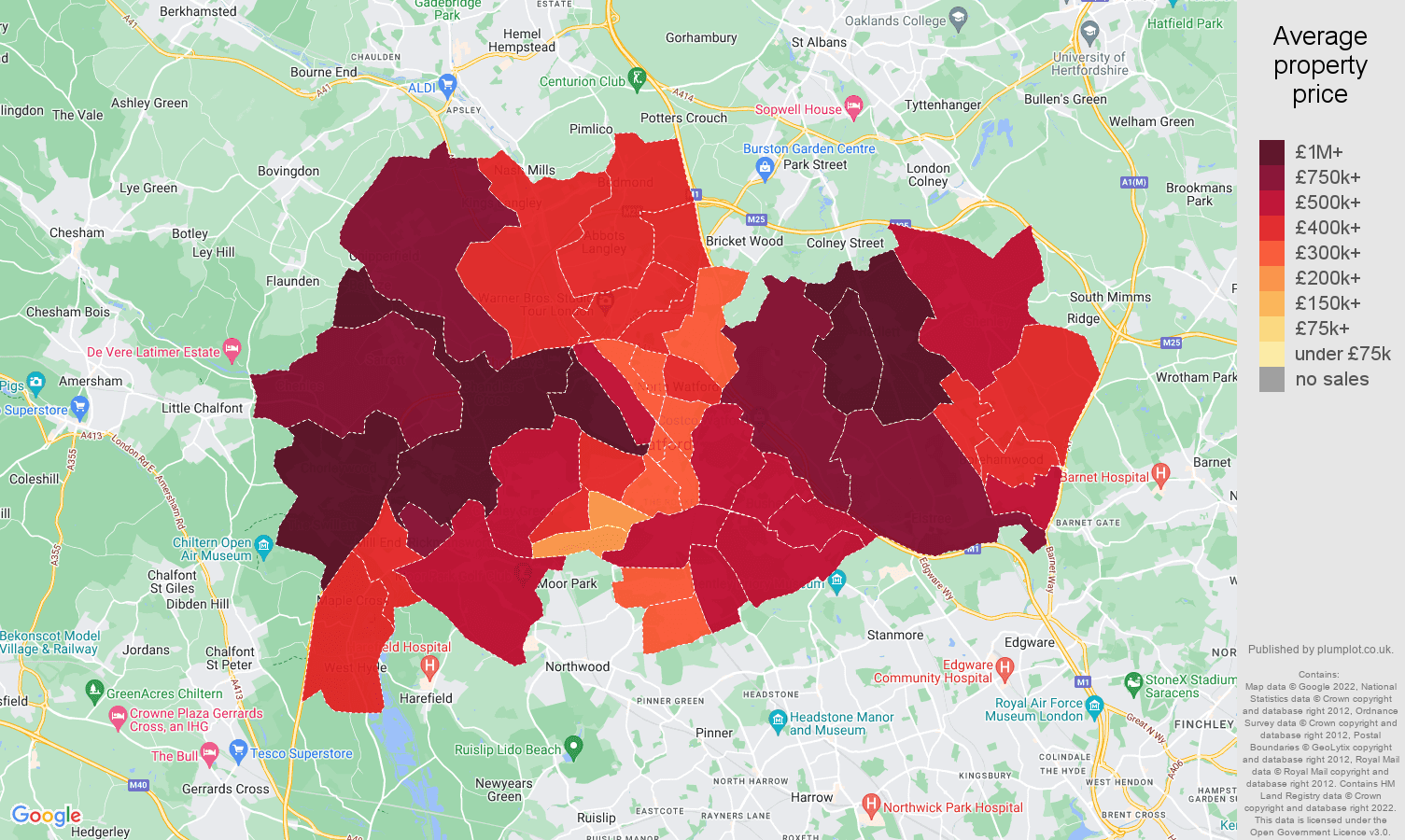 Watford house prices map