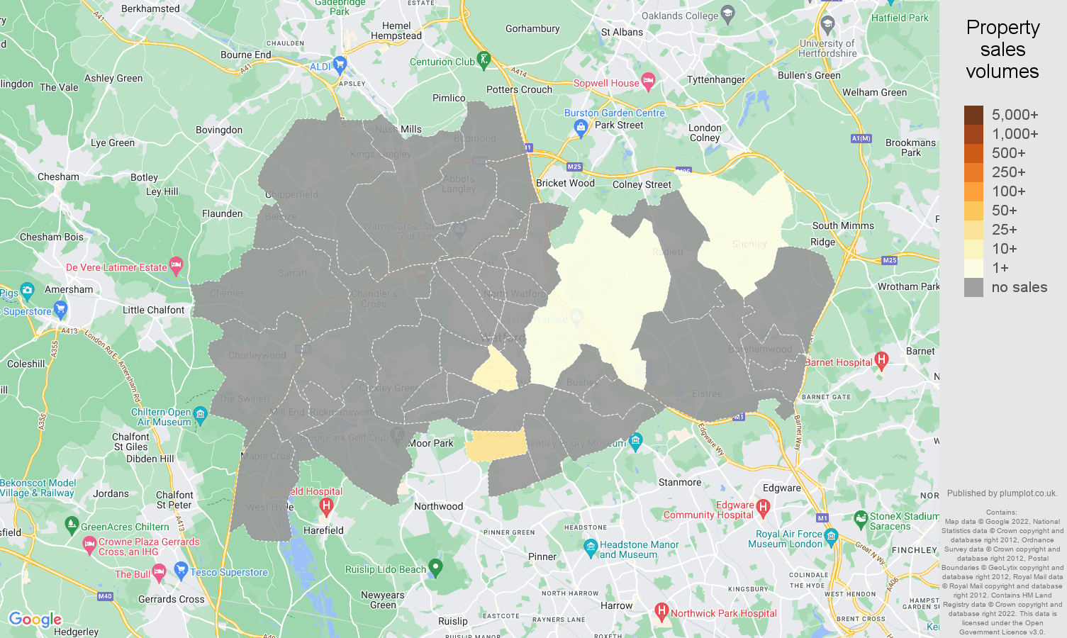 Watford map of sales of new properties
