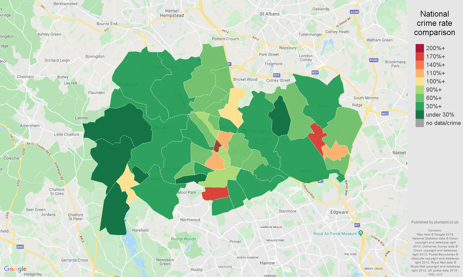 Watford public order crime rate comparison map