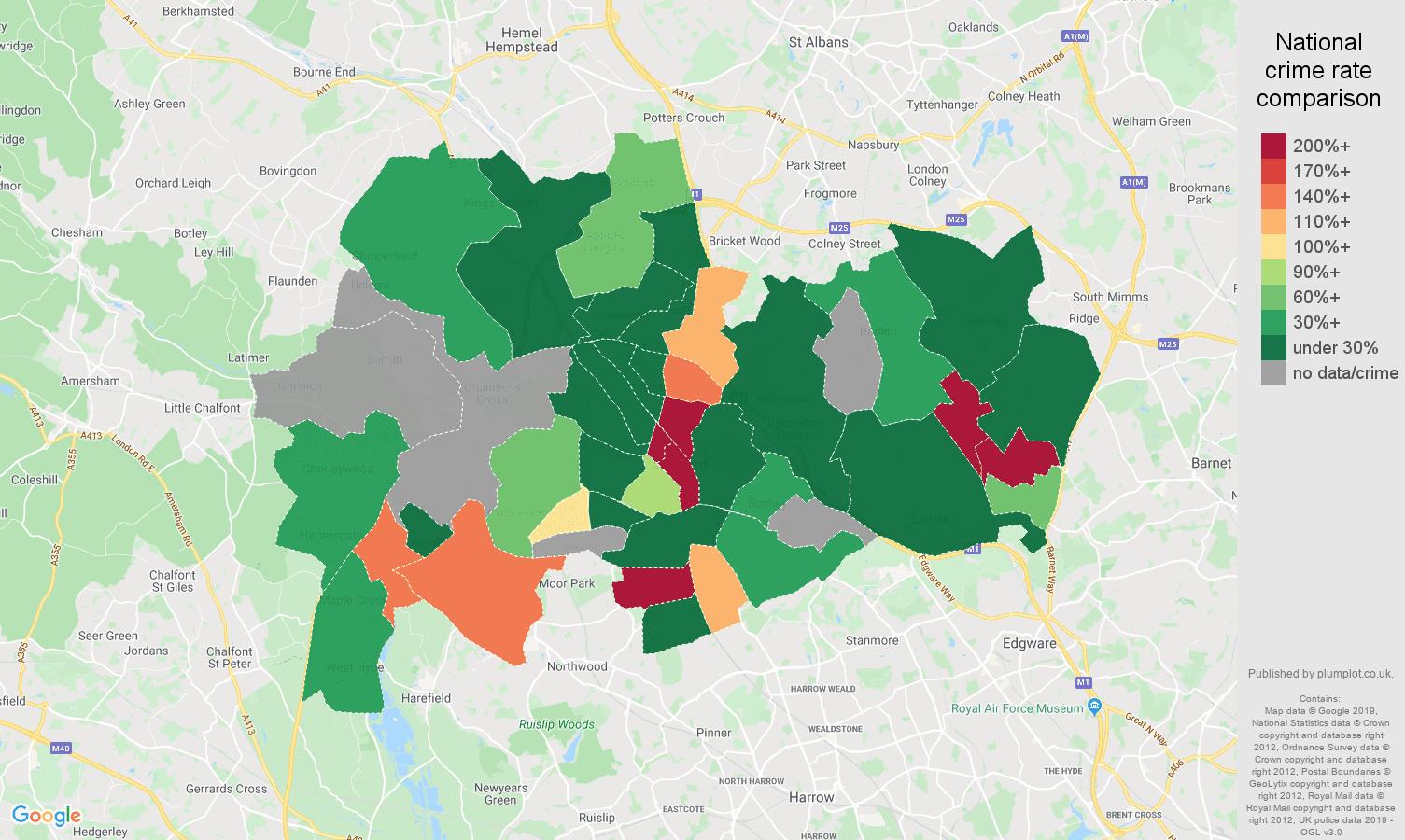 Watford shoplifting crime rate comparison map
