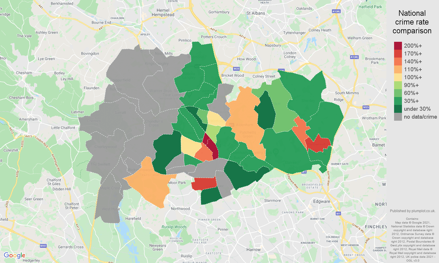 Watford theft from the person crime rate comparison map