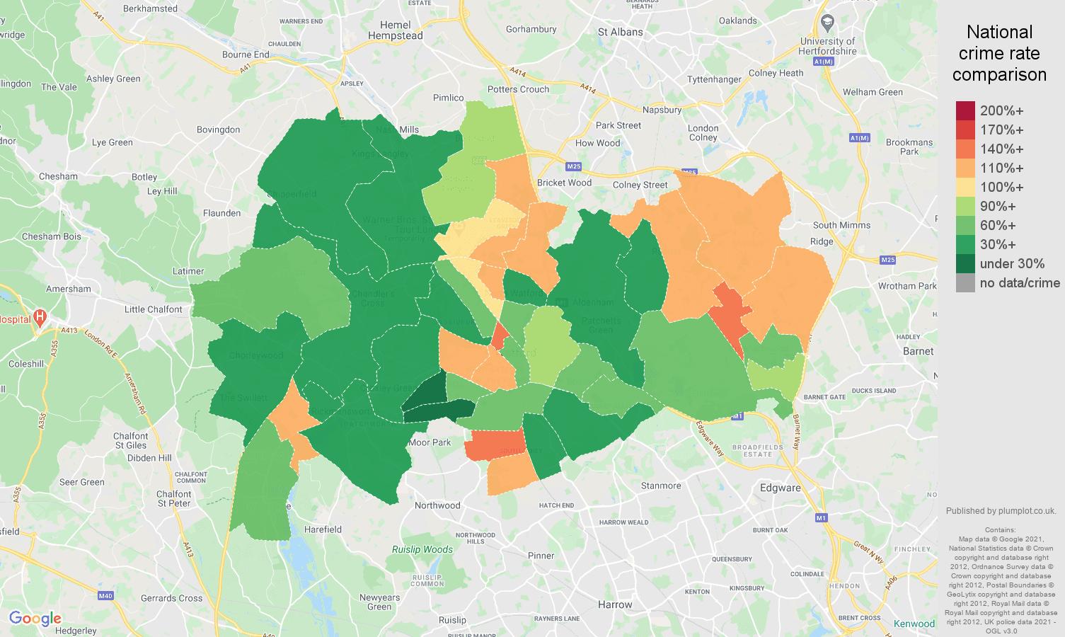 Watford violent crime rate comparison map