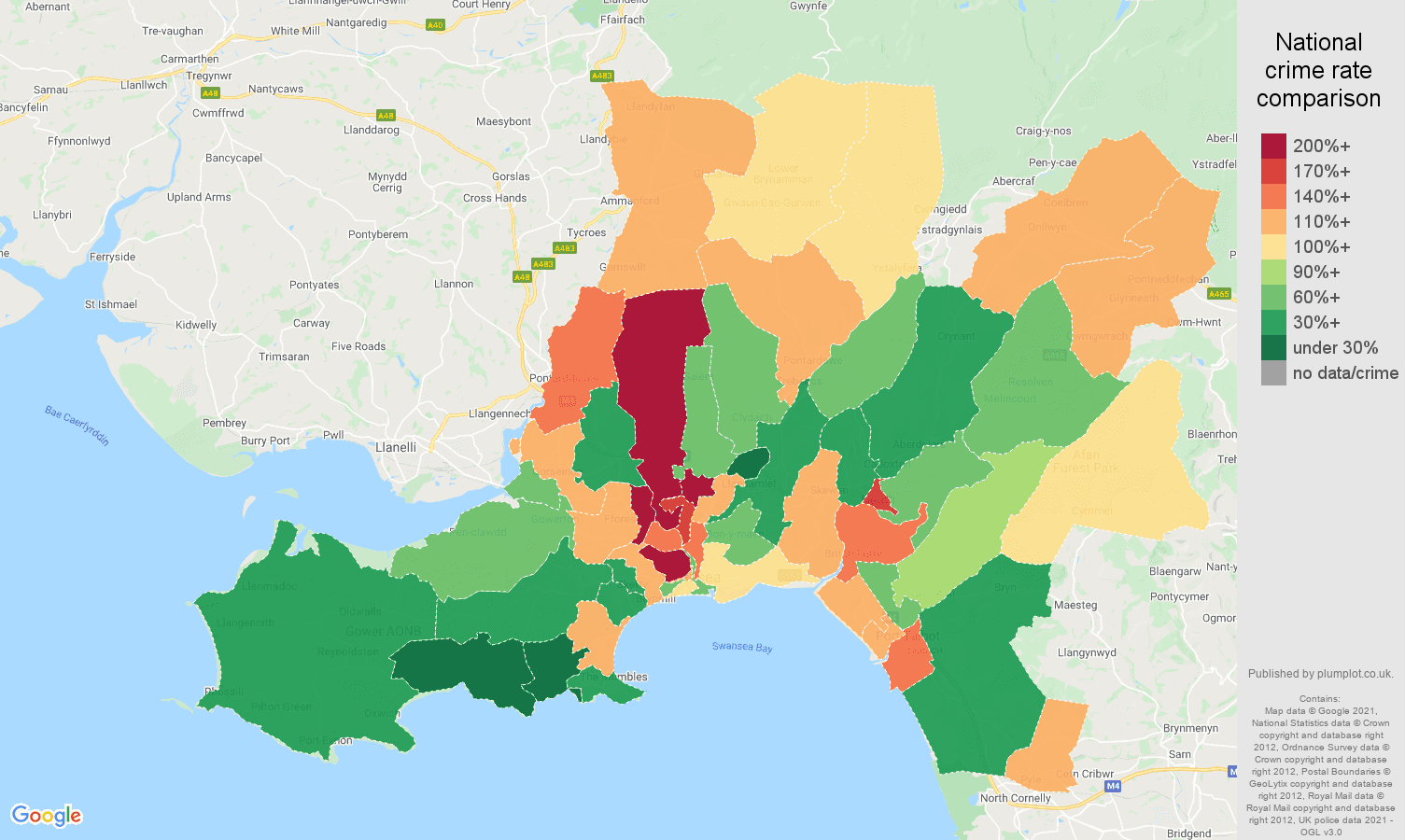 West Glamorgan criminal damage and arson crime rate comparison map