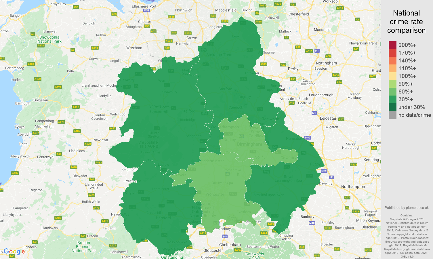 West Midlands bicycle theft crime rate comparison map