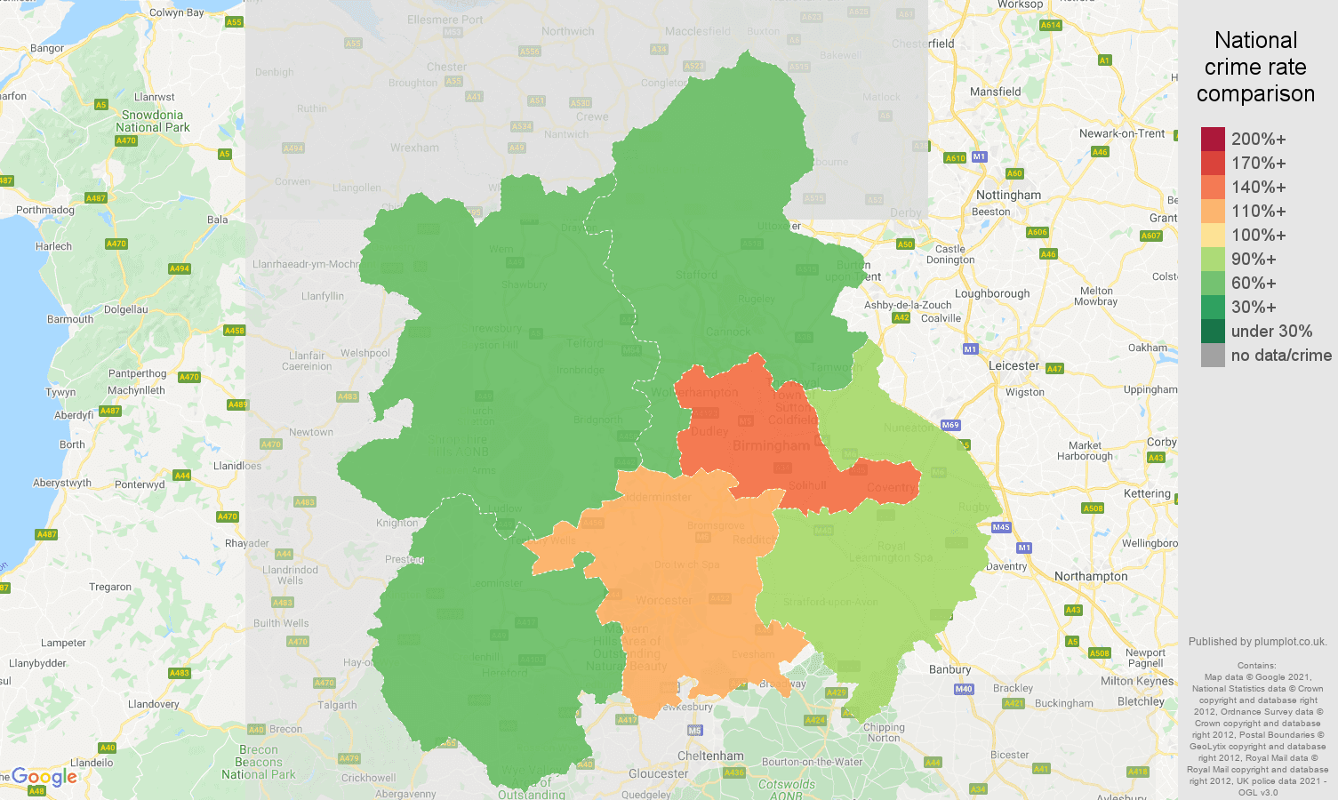 West Midlands burglary crime rate comparison map