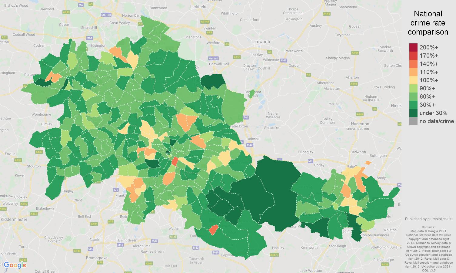 West Midlands county antisocial behaviour crime rate comparison map