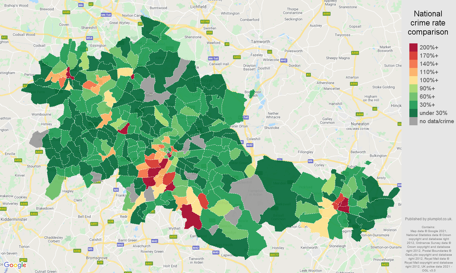 West Midlands county bicycle theft crime rate comparison map