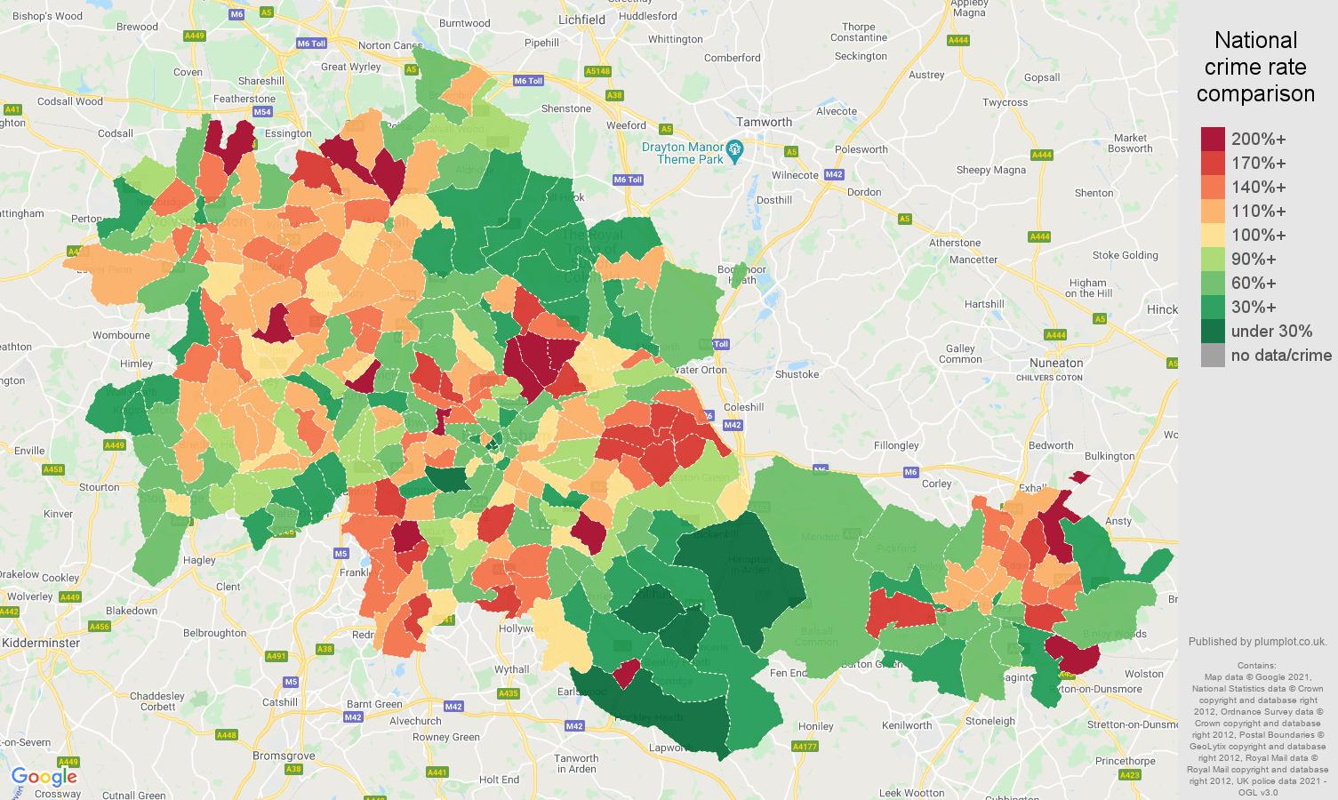 West Midlands county criminal damage and arson crime rate comparison map