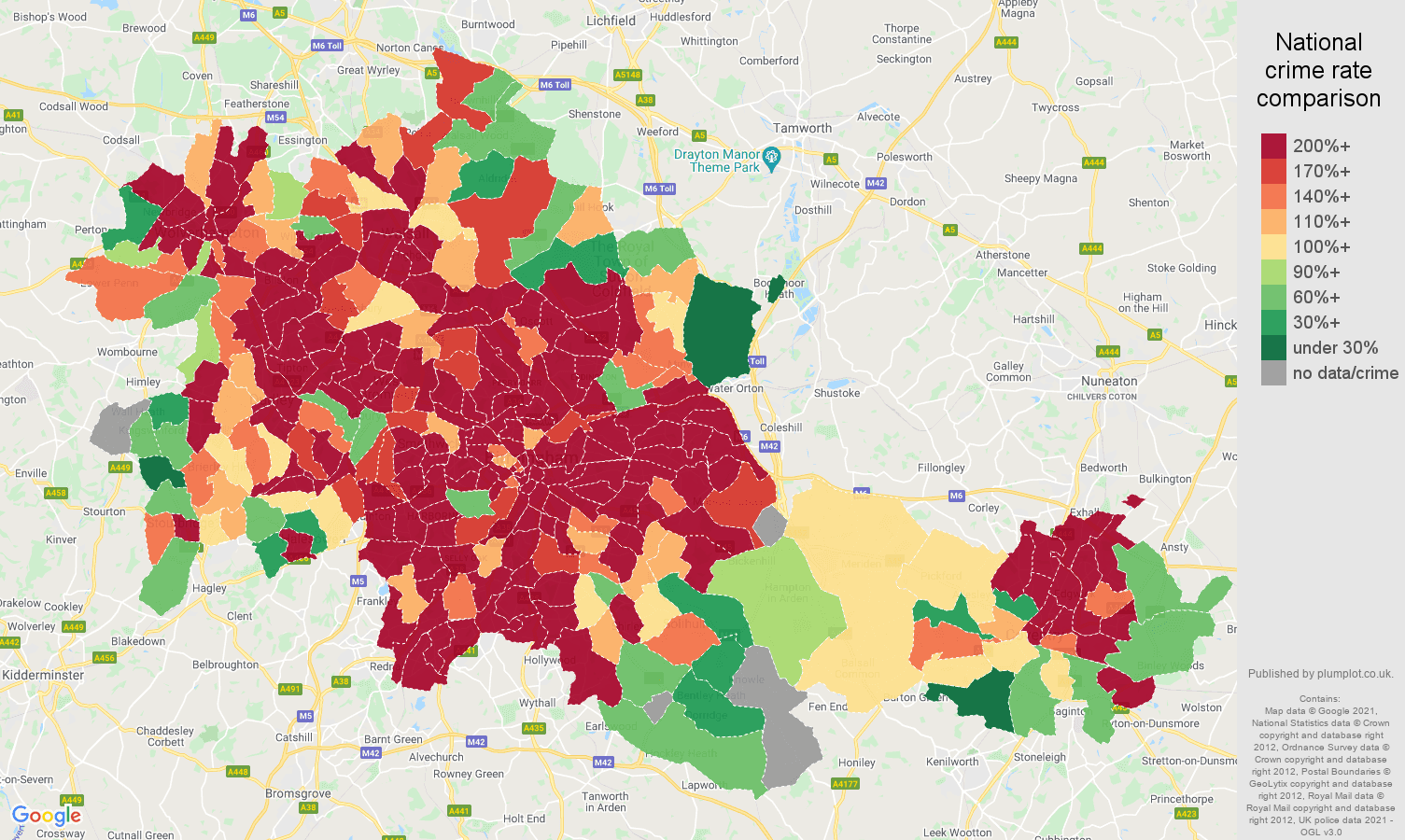West Midlands county robbery crime rate comparison map
