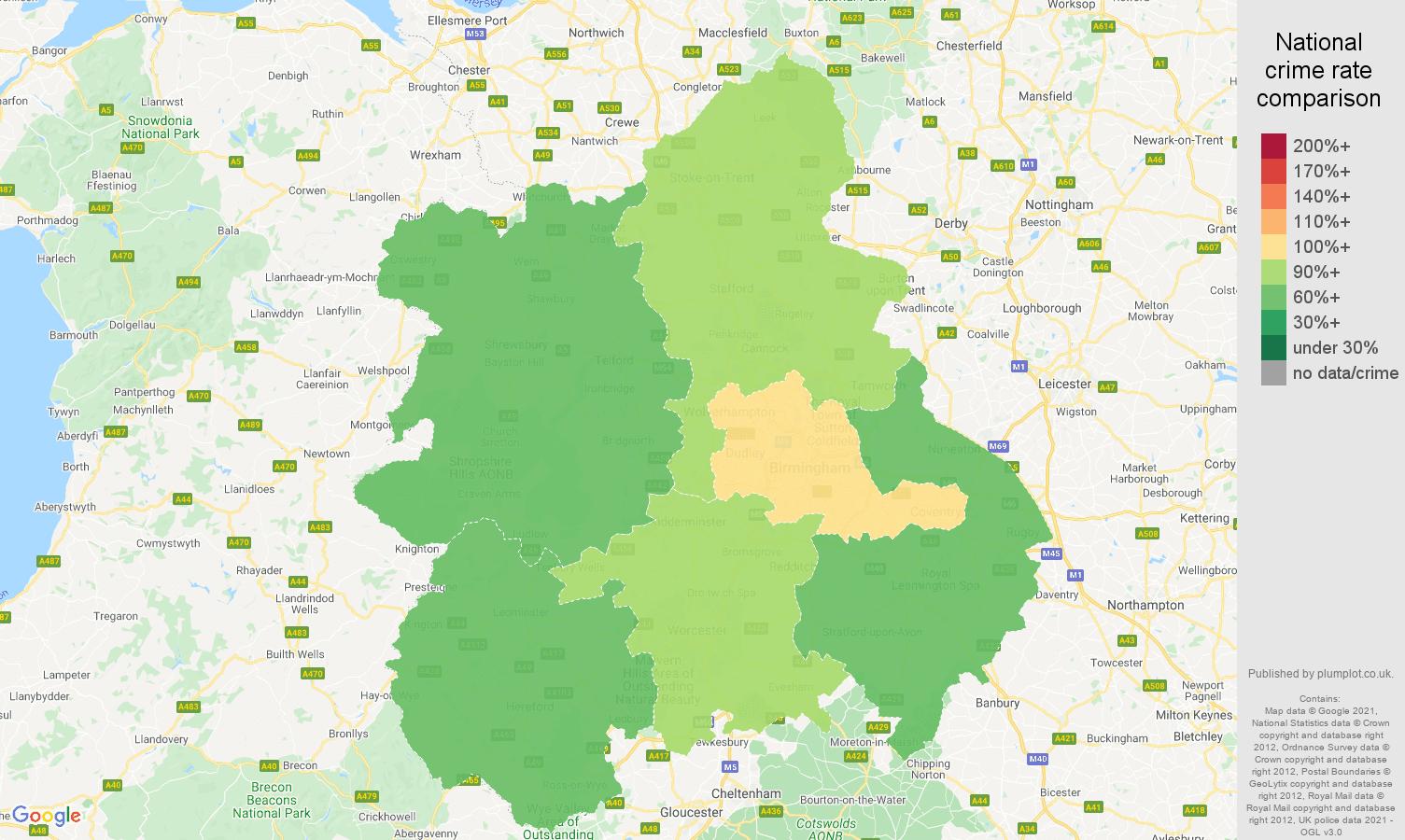 West Midlands criminal damage and arson crime rate comparison map