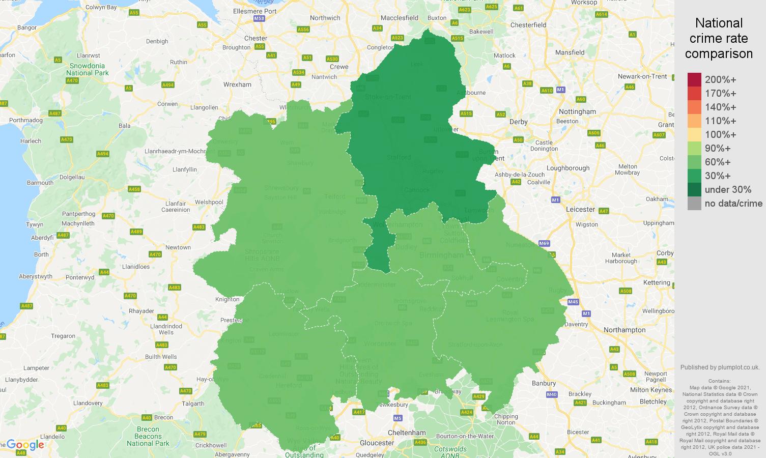 West Midlands drugs crime rate comparison map