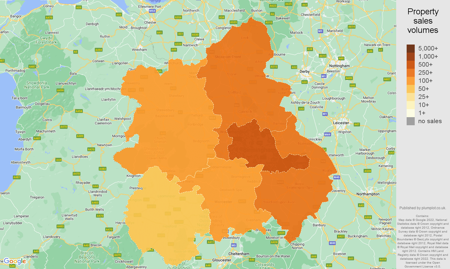 West Midlands map of sales of new properties