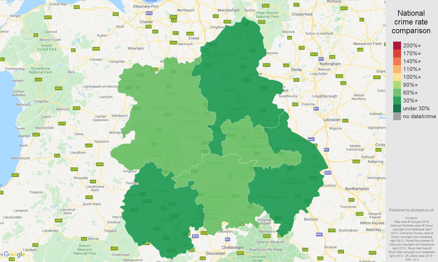 West Midlands public order crime rate comparison map