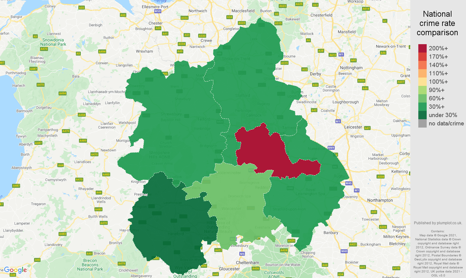 West Midlands robbery crime rate comparison map