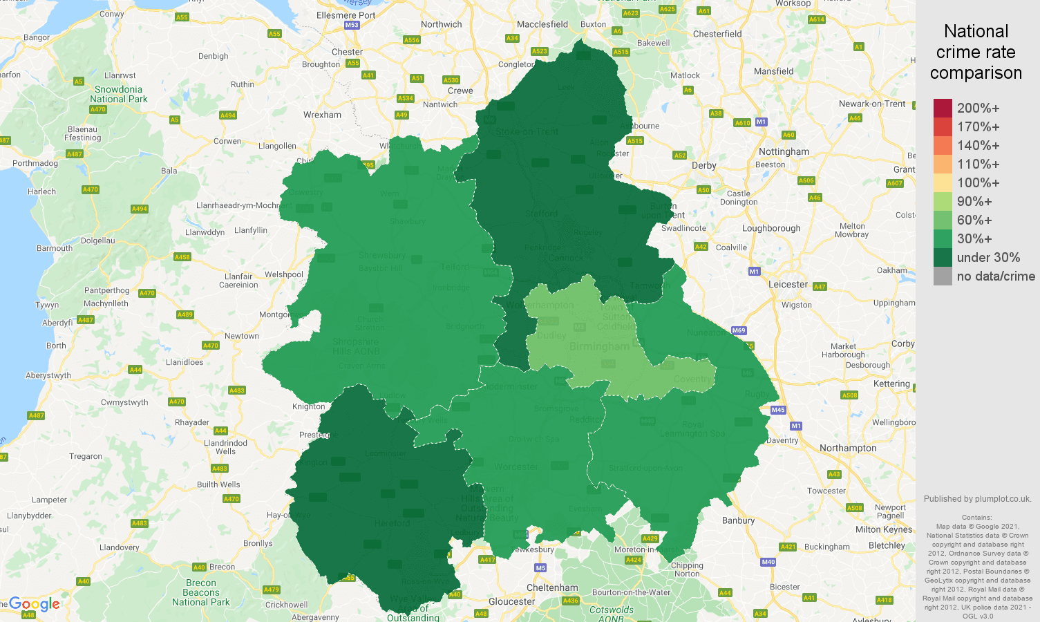West Midlands theft from the person crime rate comparison map