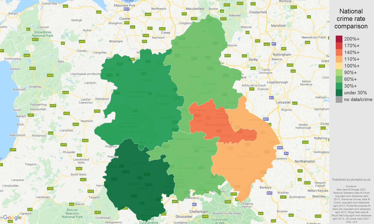 West Midlands vehicle crime rate comparison map