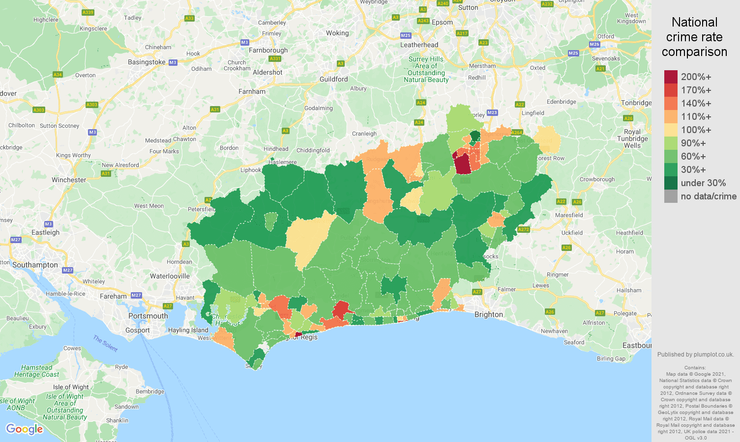 West Sussex antisocial behaviour crime rate comparison map