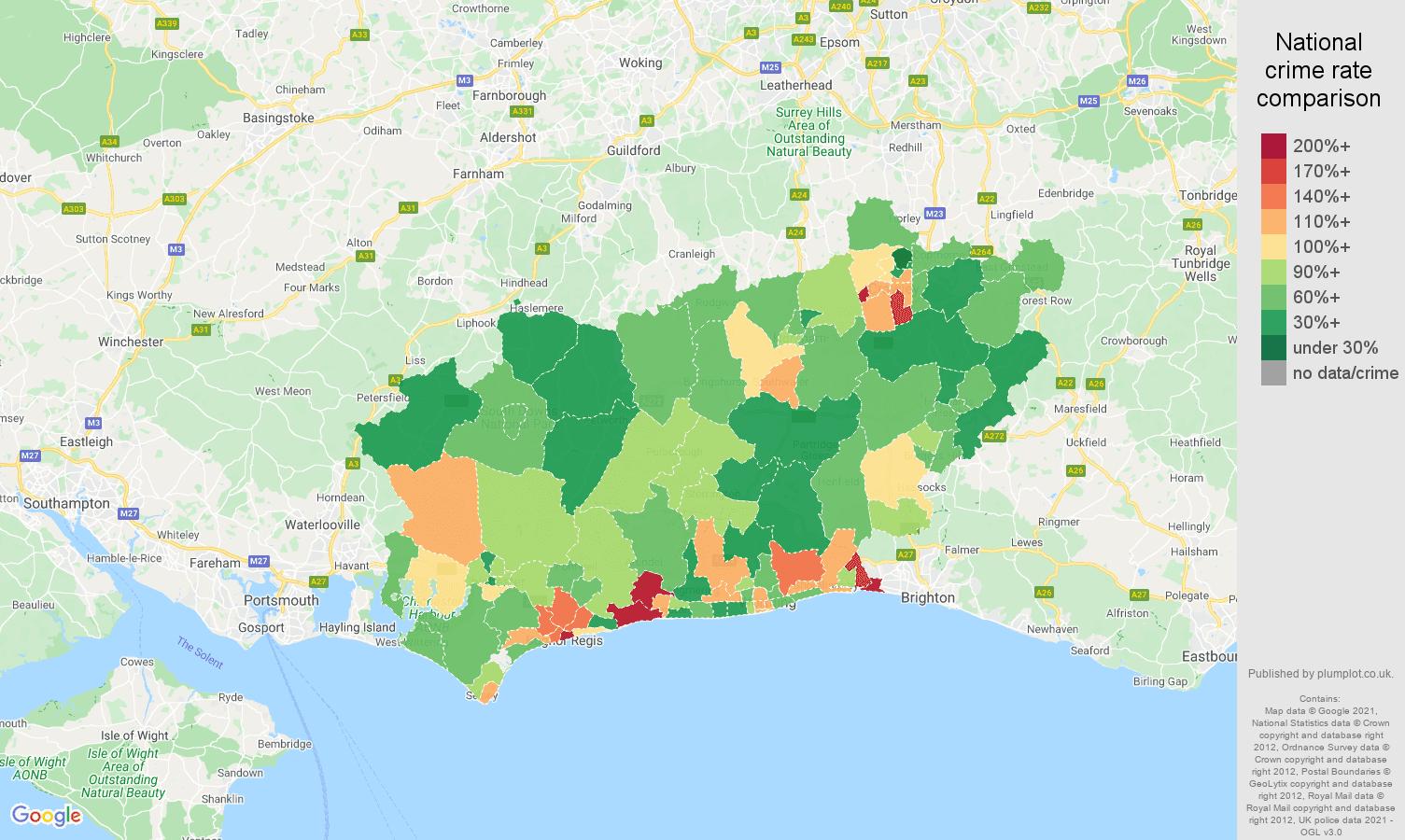 West Sussex criminal damage and arson crime rate comparison map