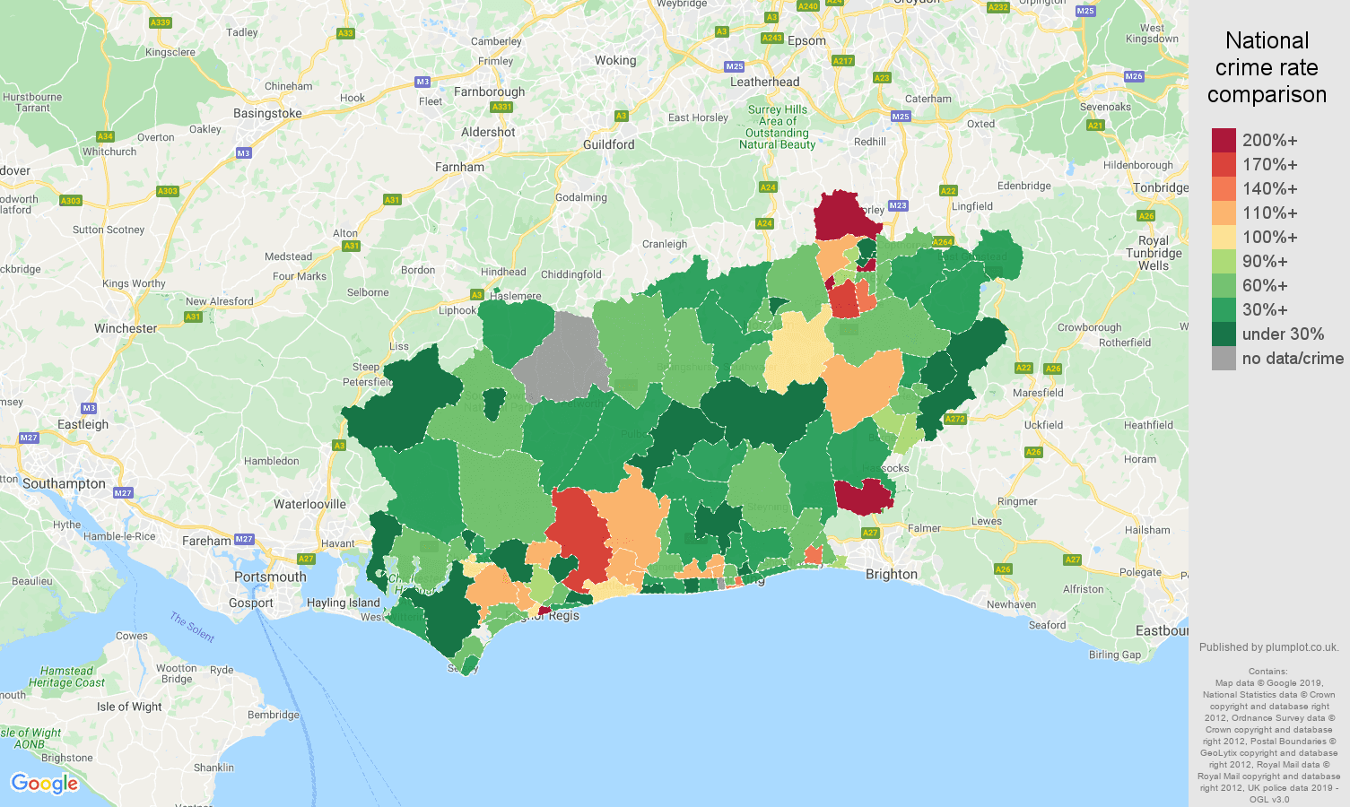 West Sussex other crime rate comparison map