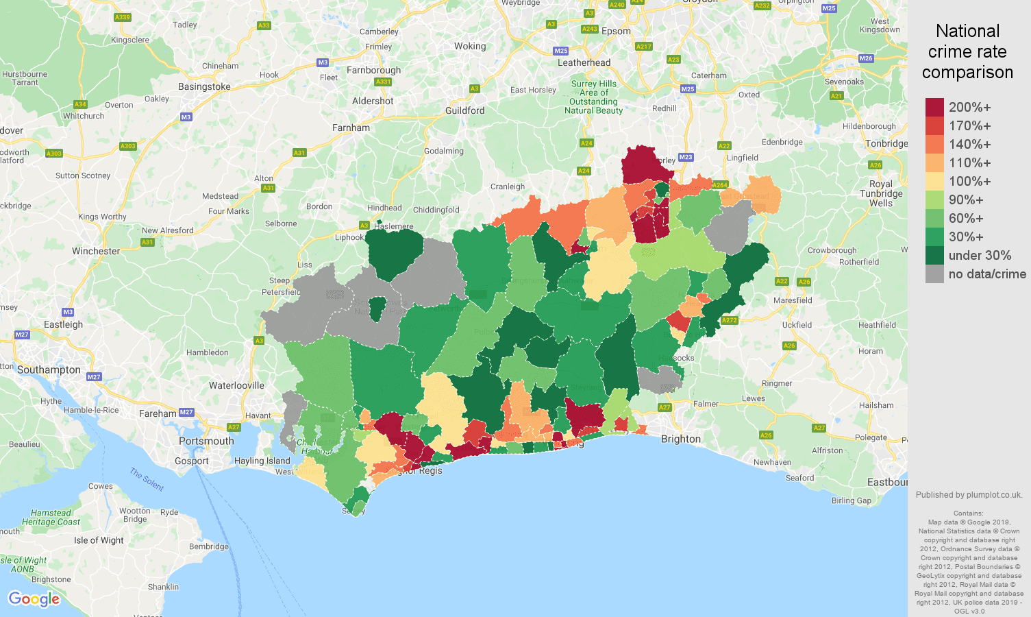 West Sussex possession of weapons crime rate comparison map