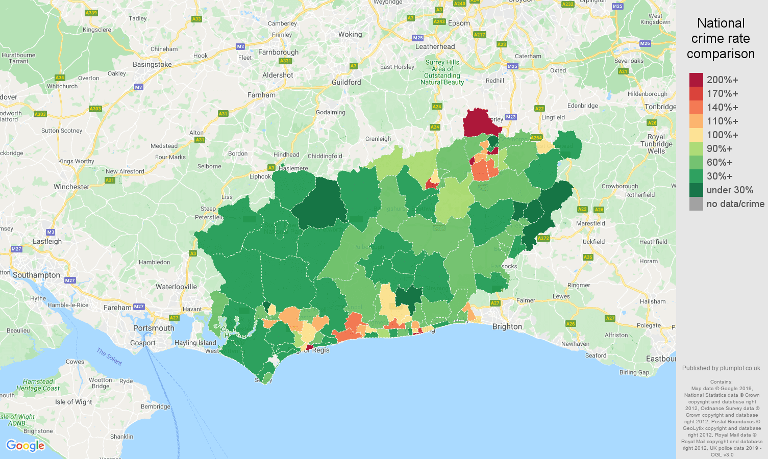 West Sussex public order crime rate comparison map