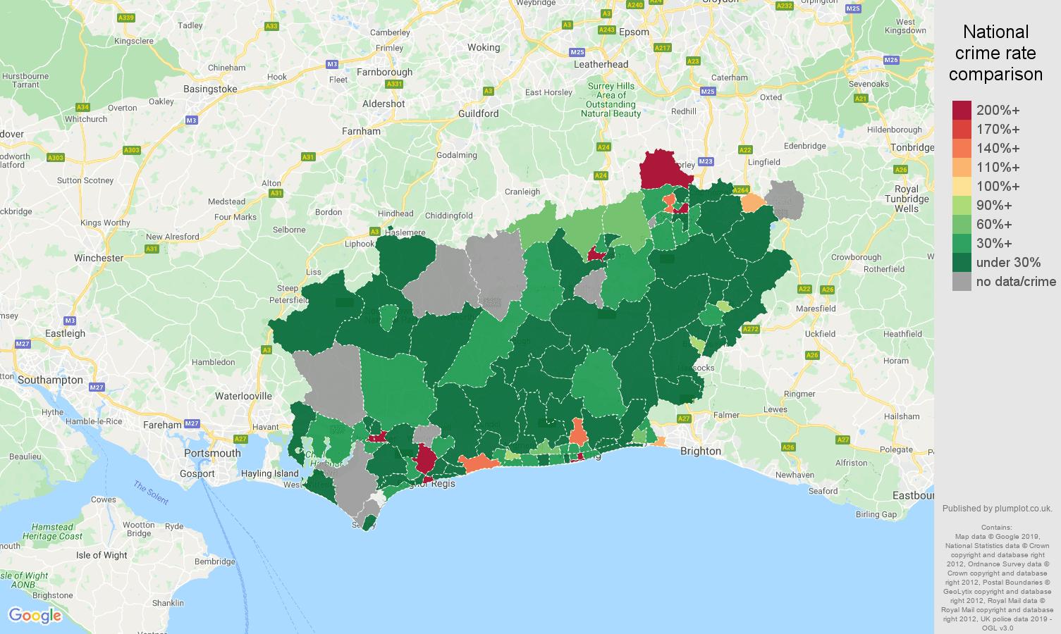 West Sussex shoplifting crime rate comparison map