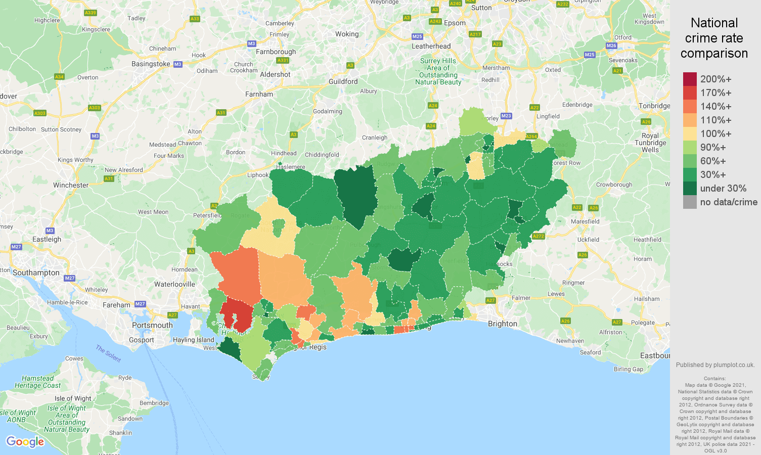 West Sussex vehicle crime rate comparison map