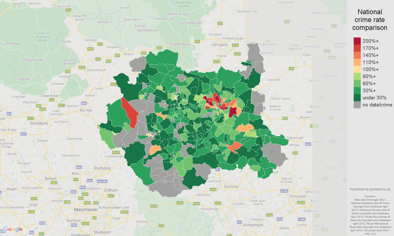 West Yorkshire bicycle theft crime rate comparison map