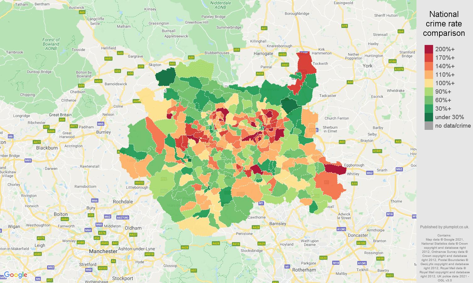 West Yorkshire vehicle crime rate comparison map