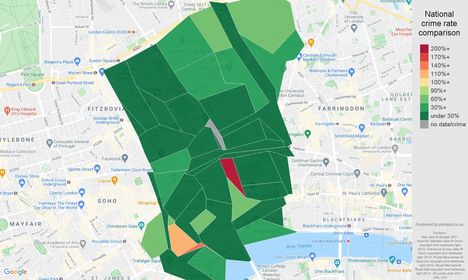 Western Central London criminal damage and arson crime rate comparison map