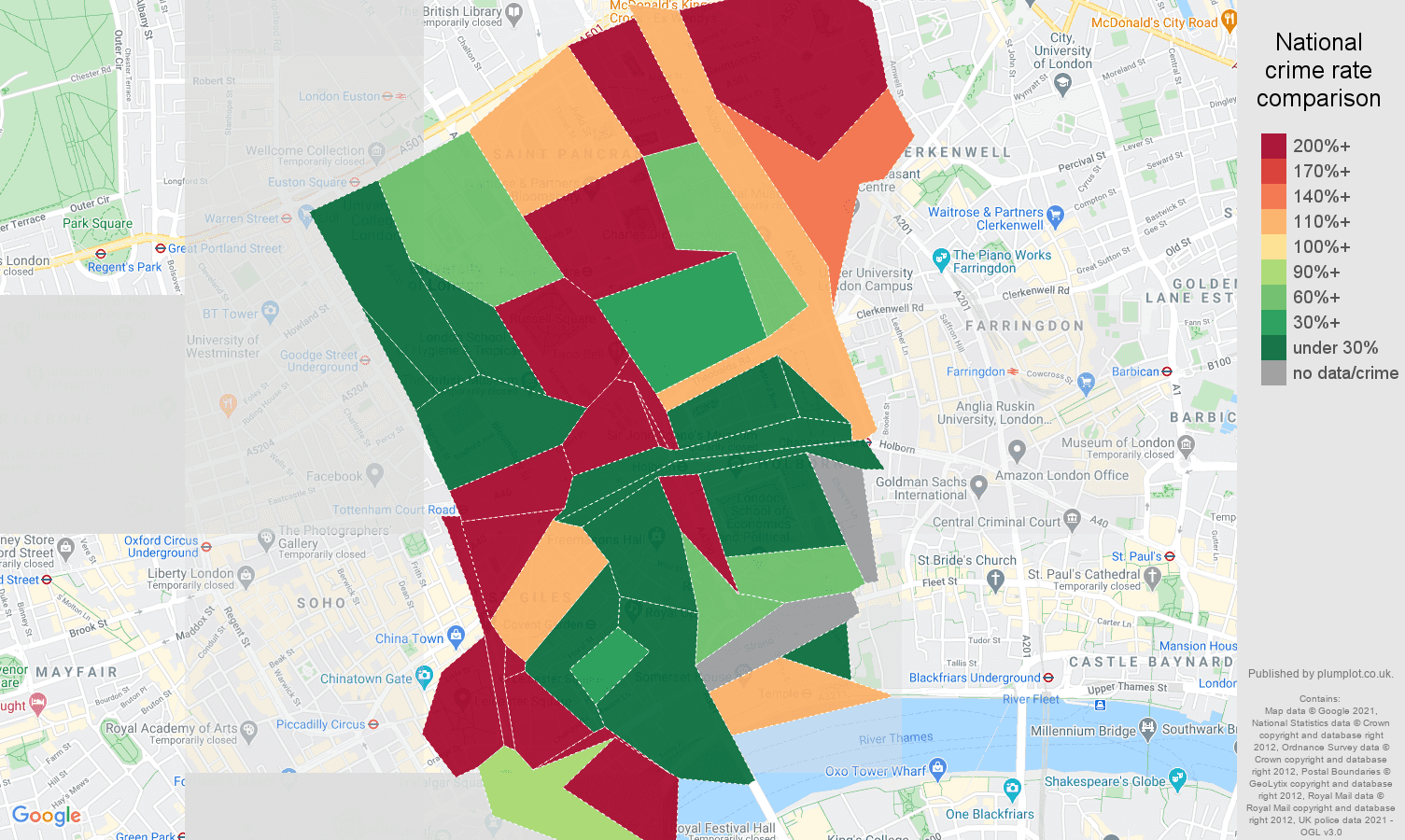 Western Central London drugs crime rate comparison map