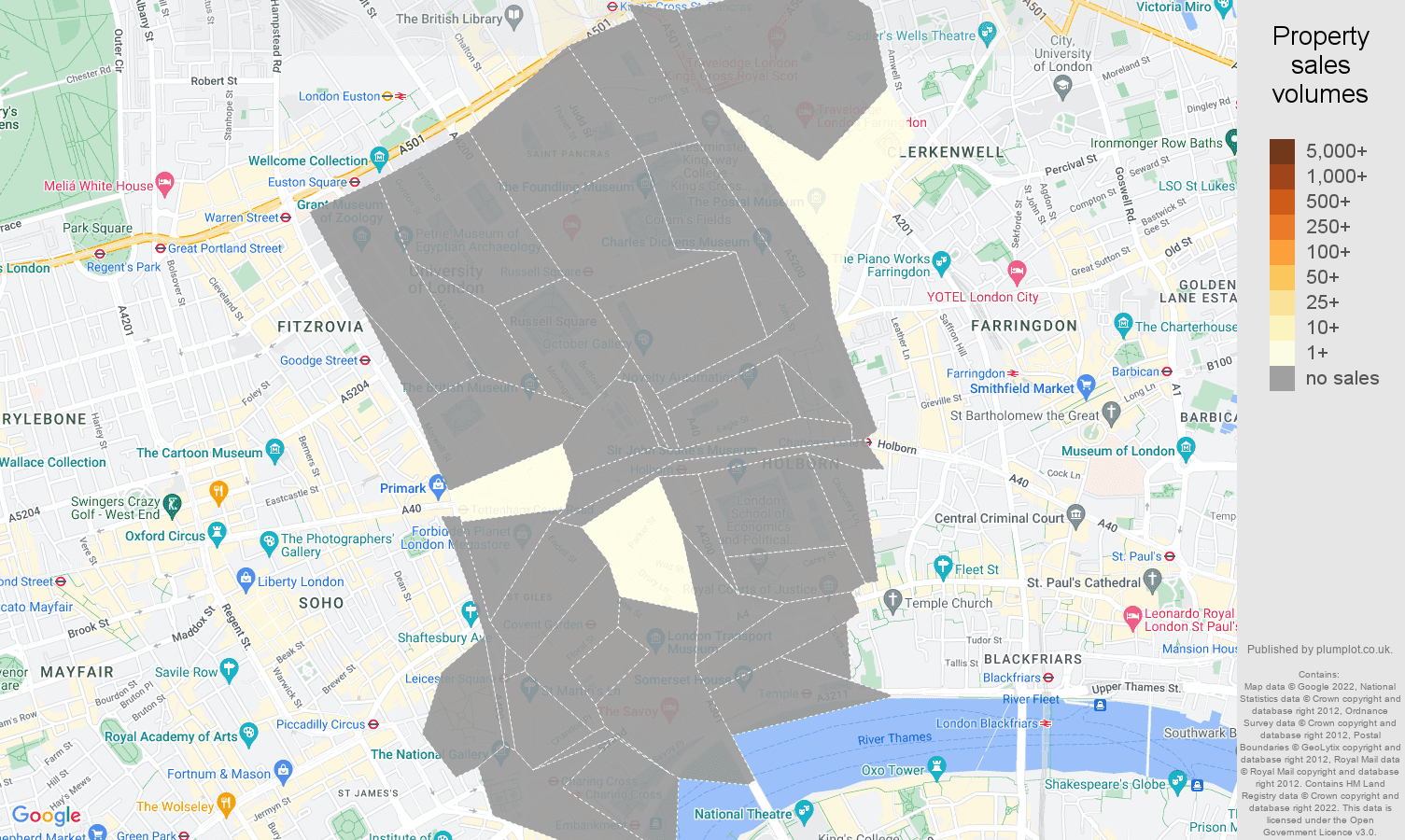 Western Central London map of sales of new properties