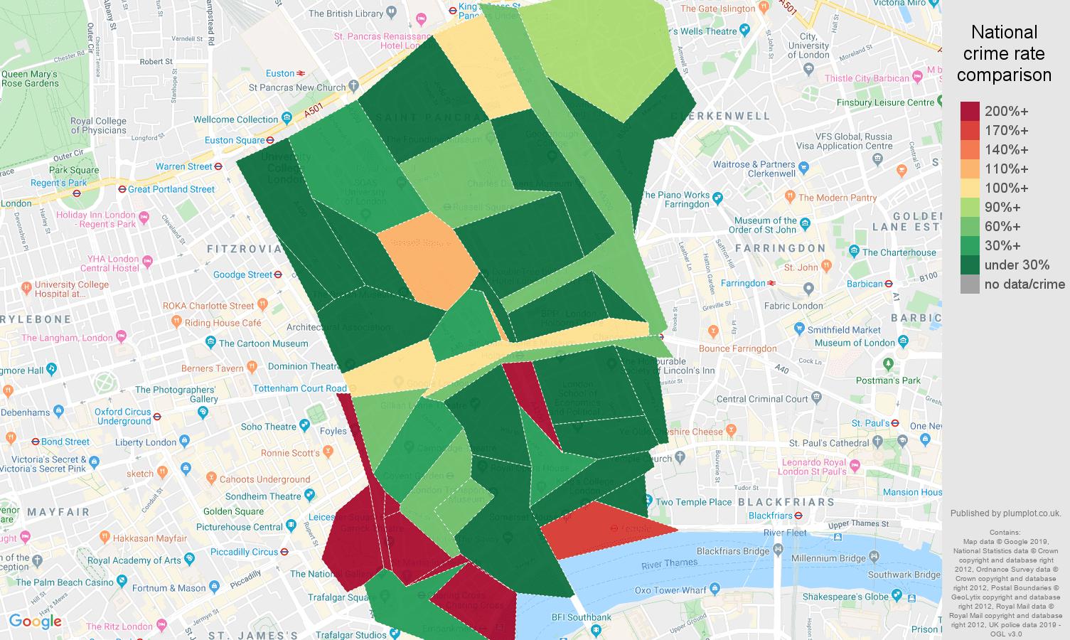 Western Central London public order crime rate comparison map