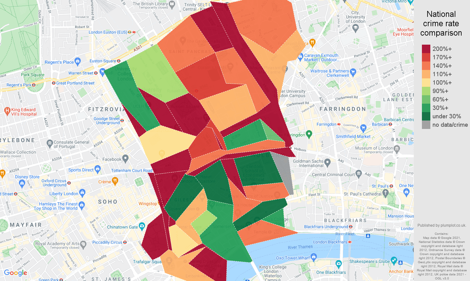 Western Central London robbery crime rate comparison map
