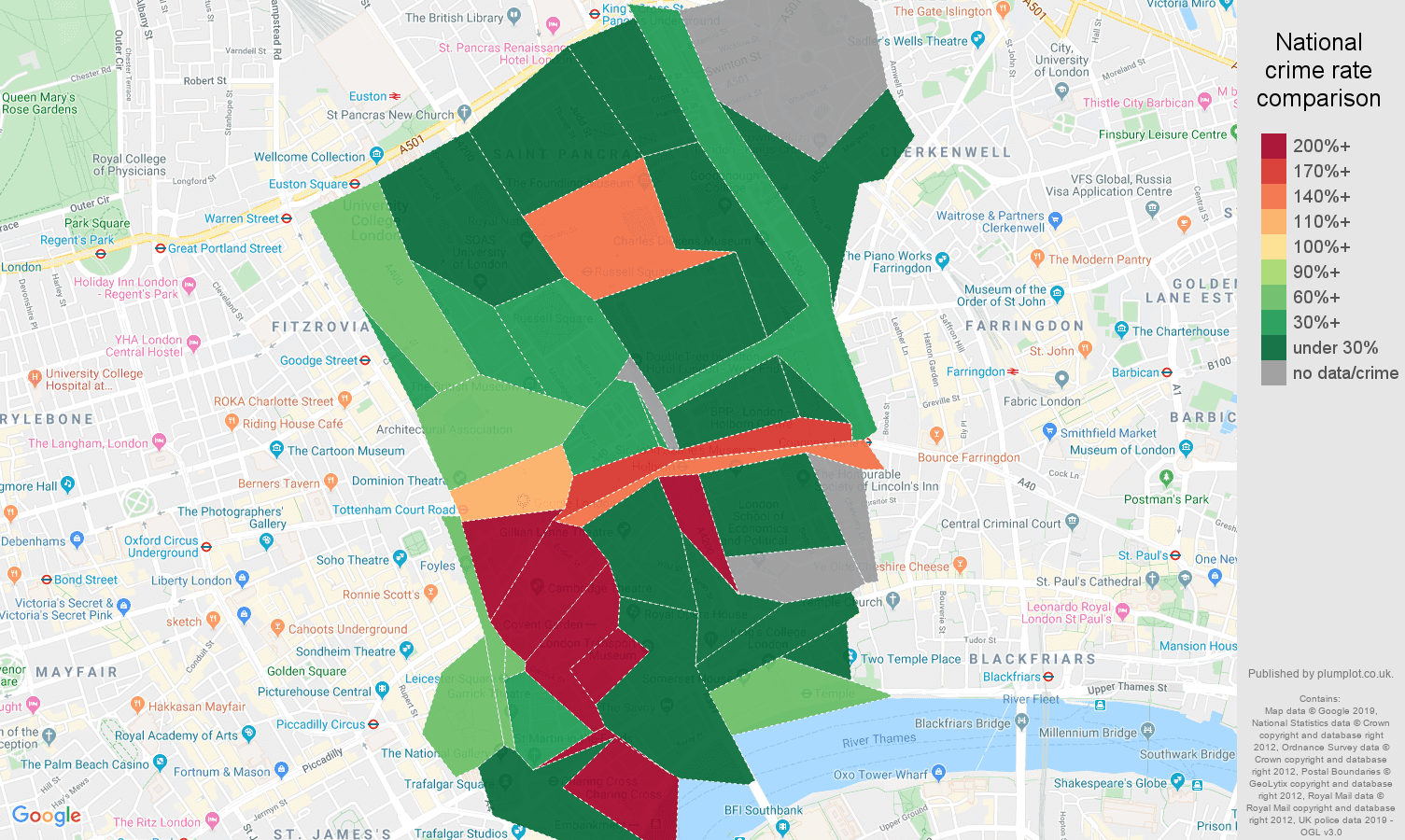 Western Central London shoplifting crime rate comparison map