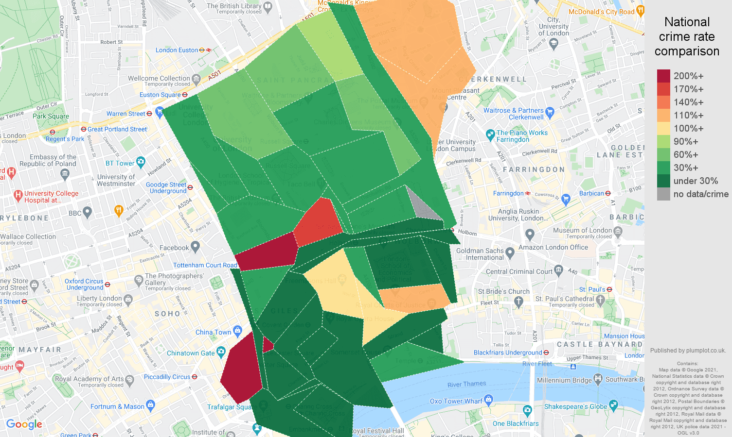 Western Central London vehicle crime rate comparison map