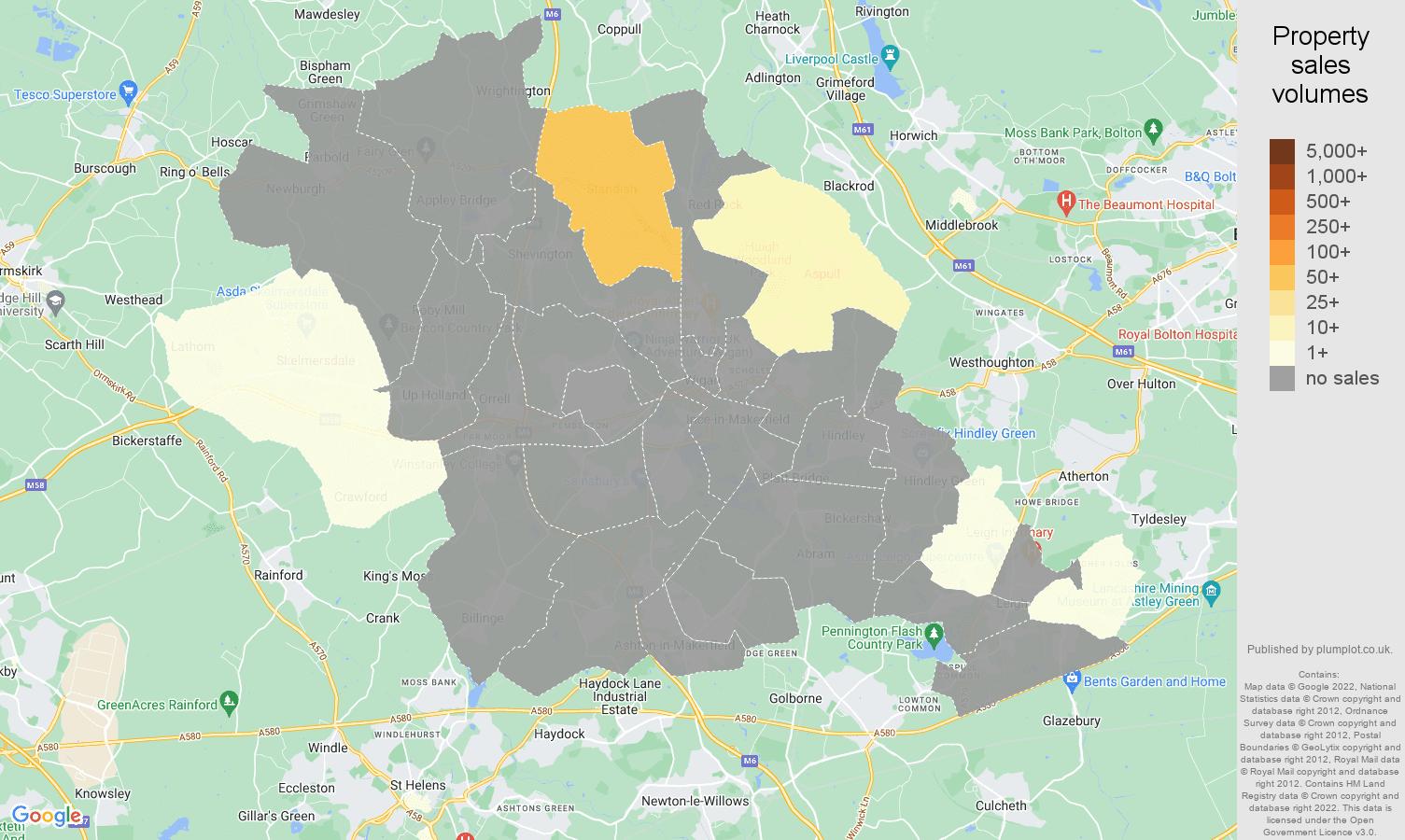 Wigan map of sales of new properties