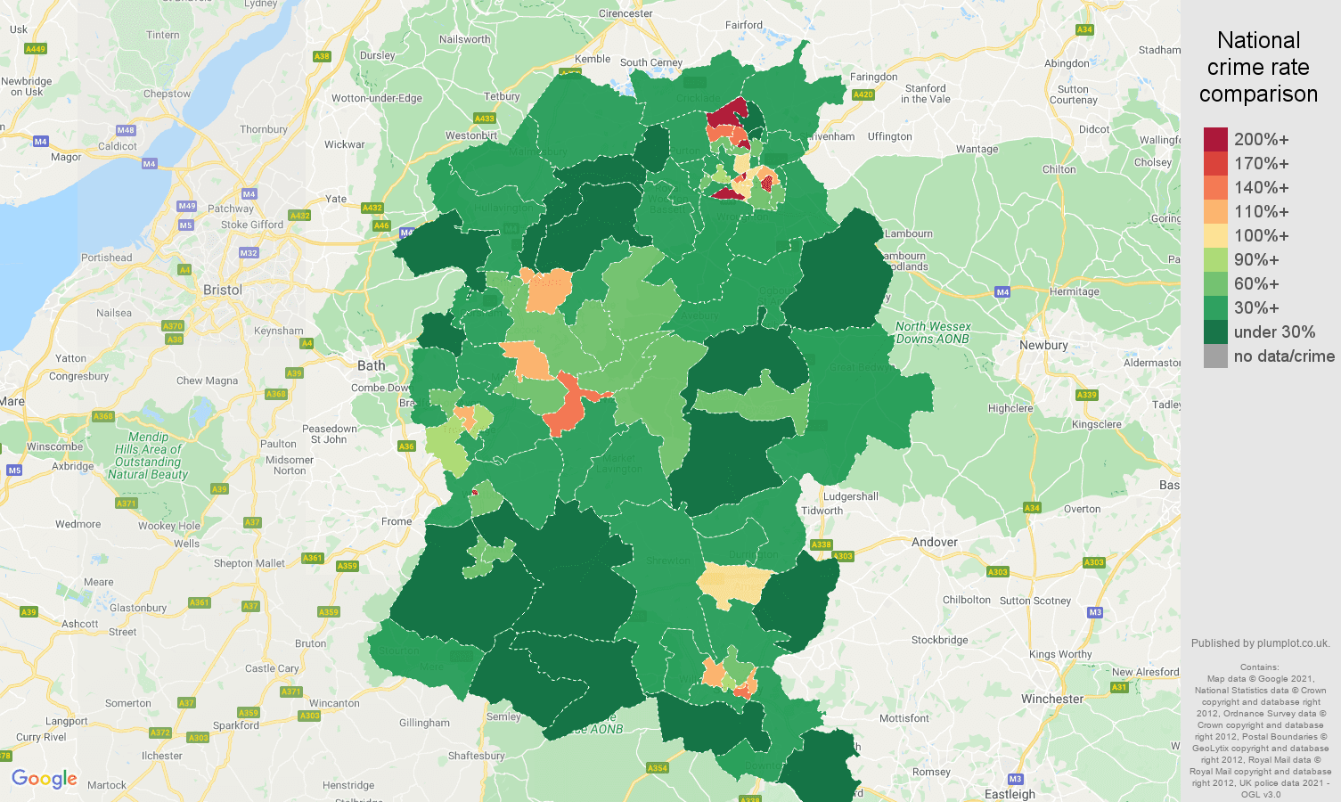 Wiltshire antisocial behaviour crime rate comparison map