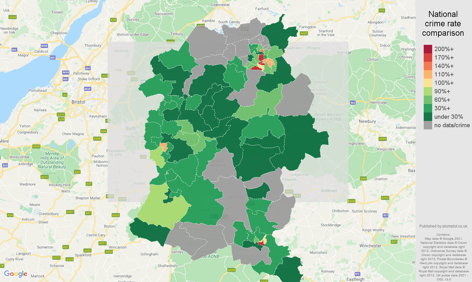 Wiltshire bicycle theft crime rate comparison map