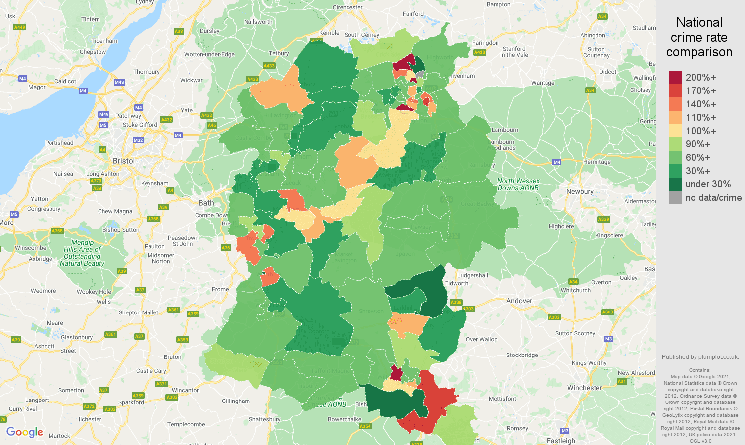 Wiltshire criminal damage and arson crime rate comparison map