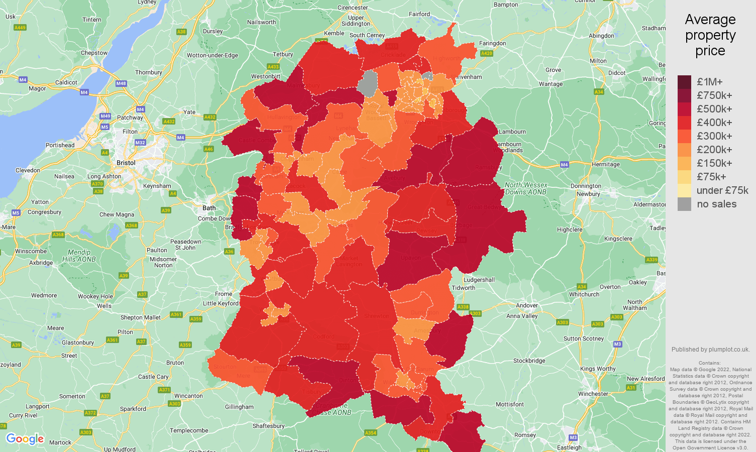 Wiltshire house prices map