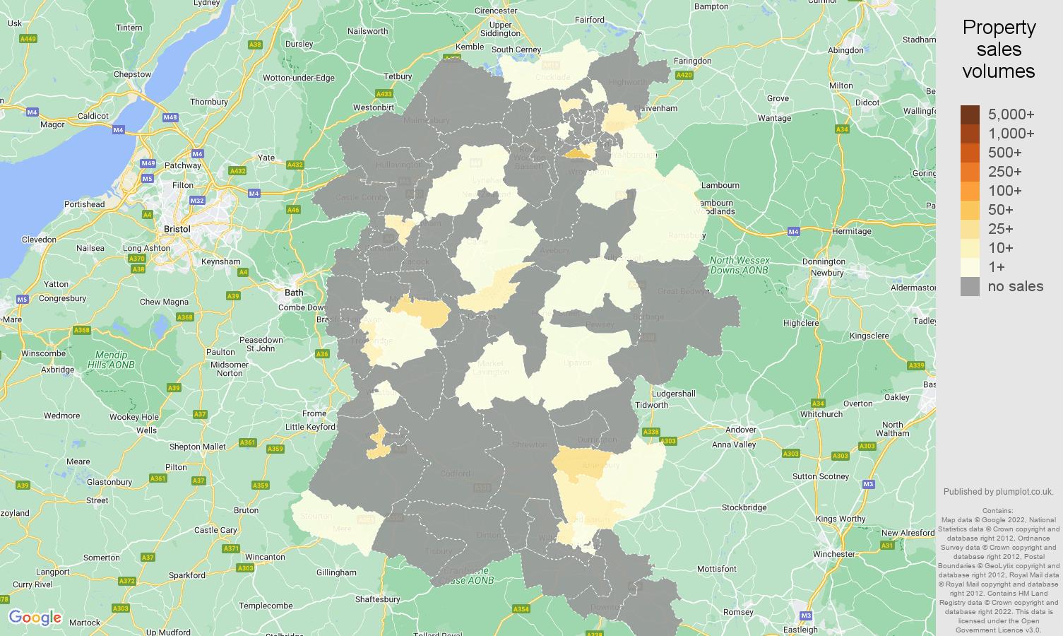 Wiltshire map of sales of new properties