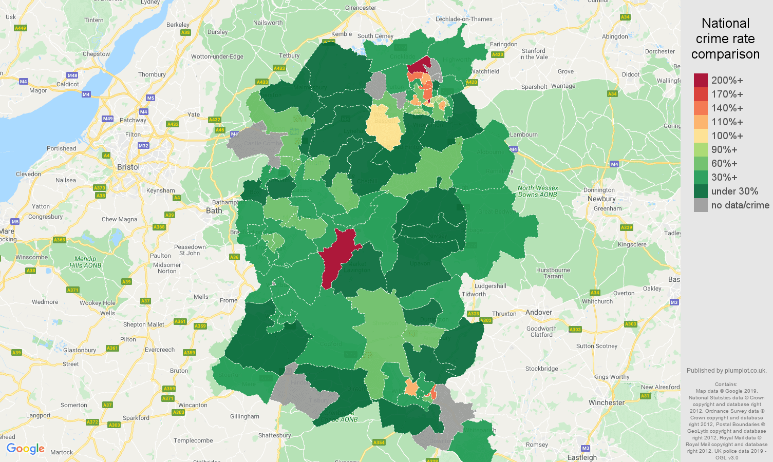Wiltshire other crime rate comparison map