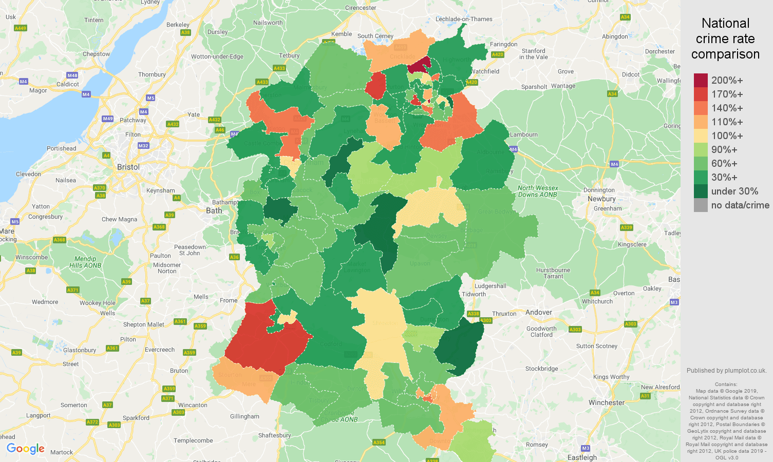 Wiltshire other theft crime rate comparison map
