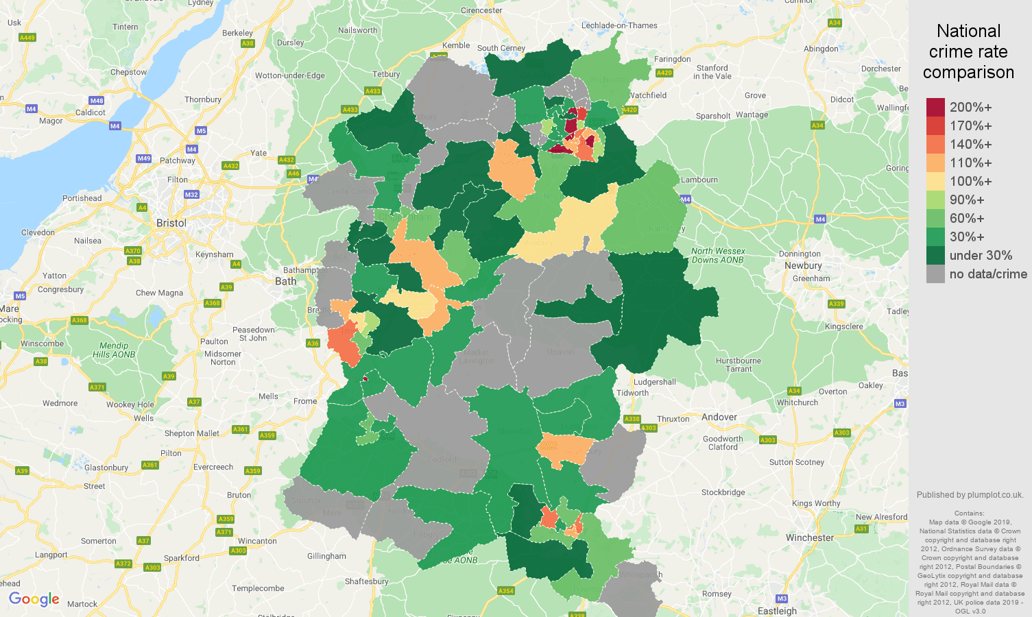 Wiltshire possession of weapons crime rate comparison map