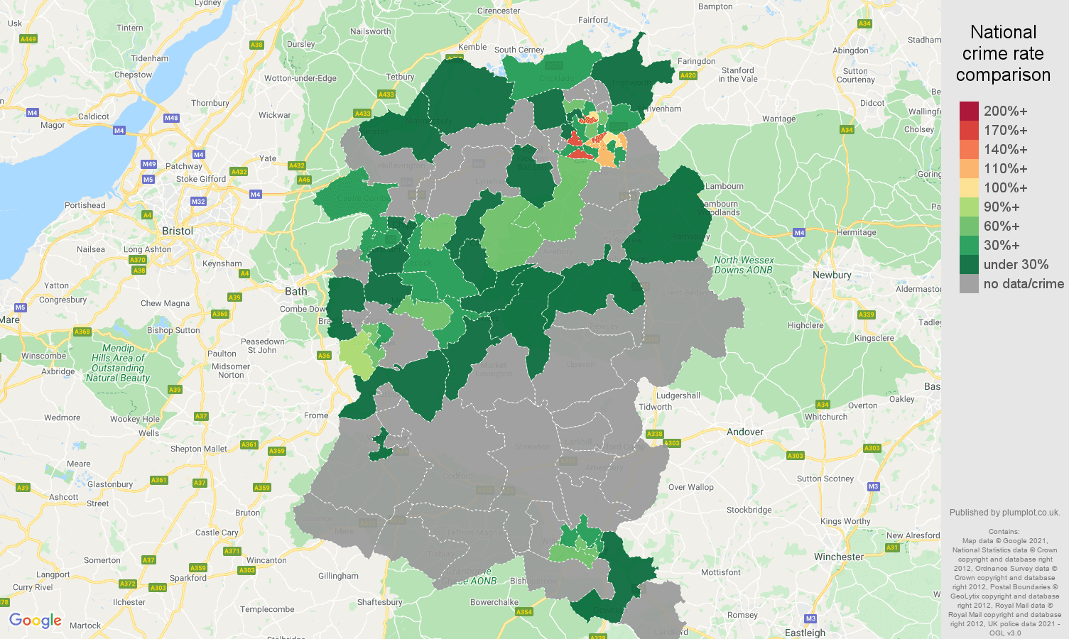 Wiltshire robbery crime rate comparison map
