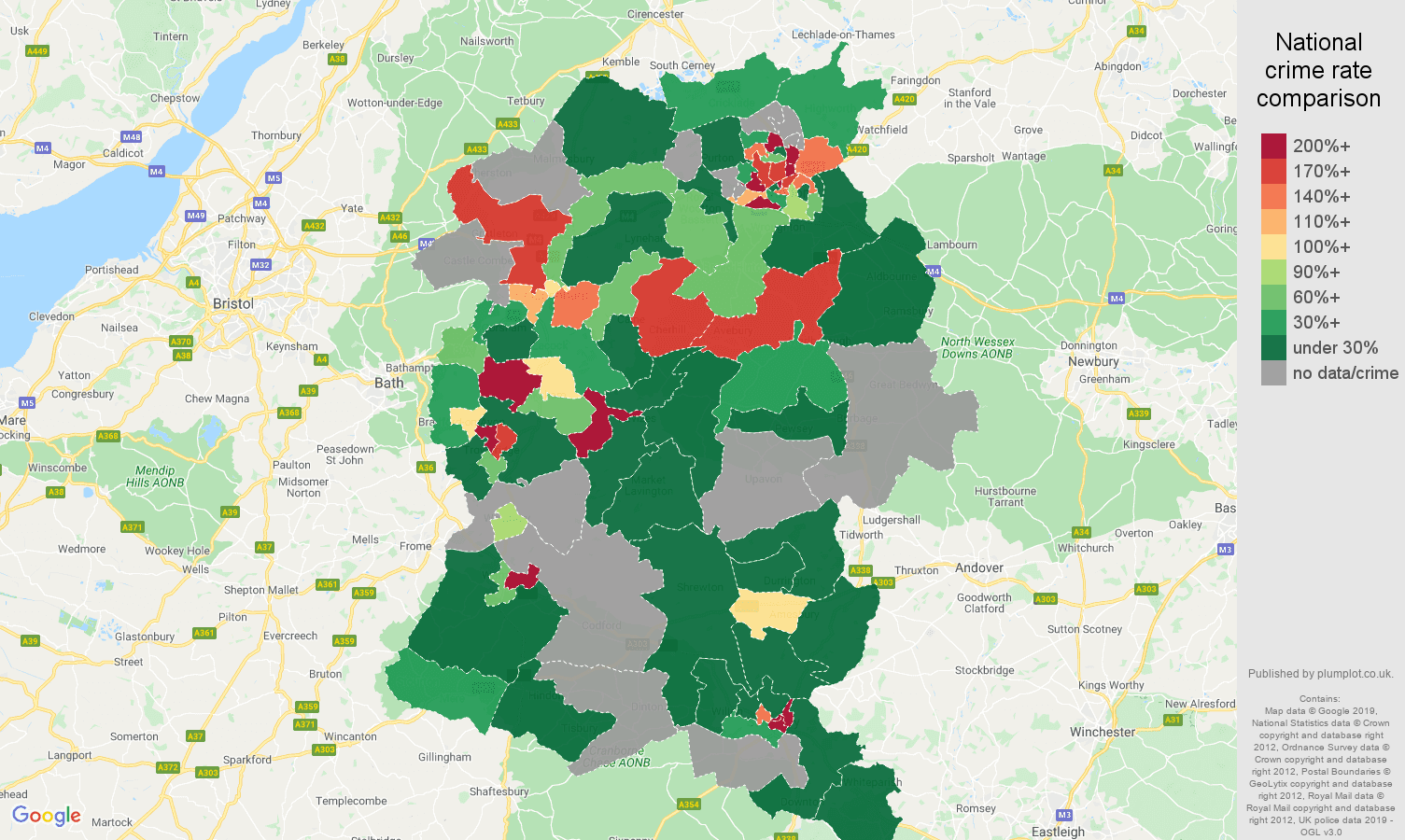 Wiltshire shoplifting crime rate comparison map