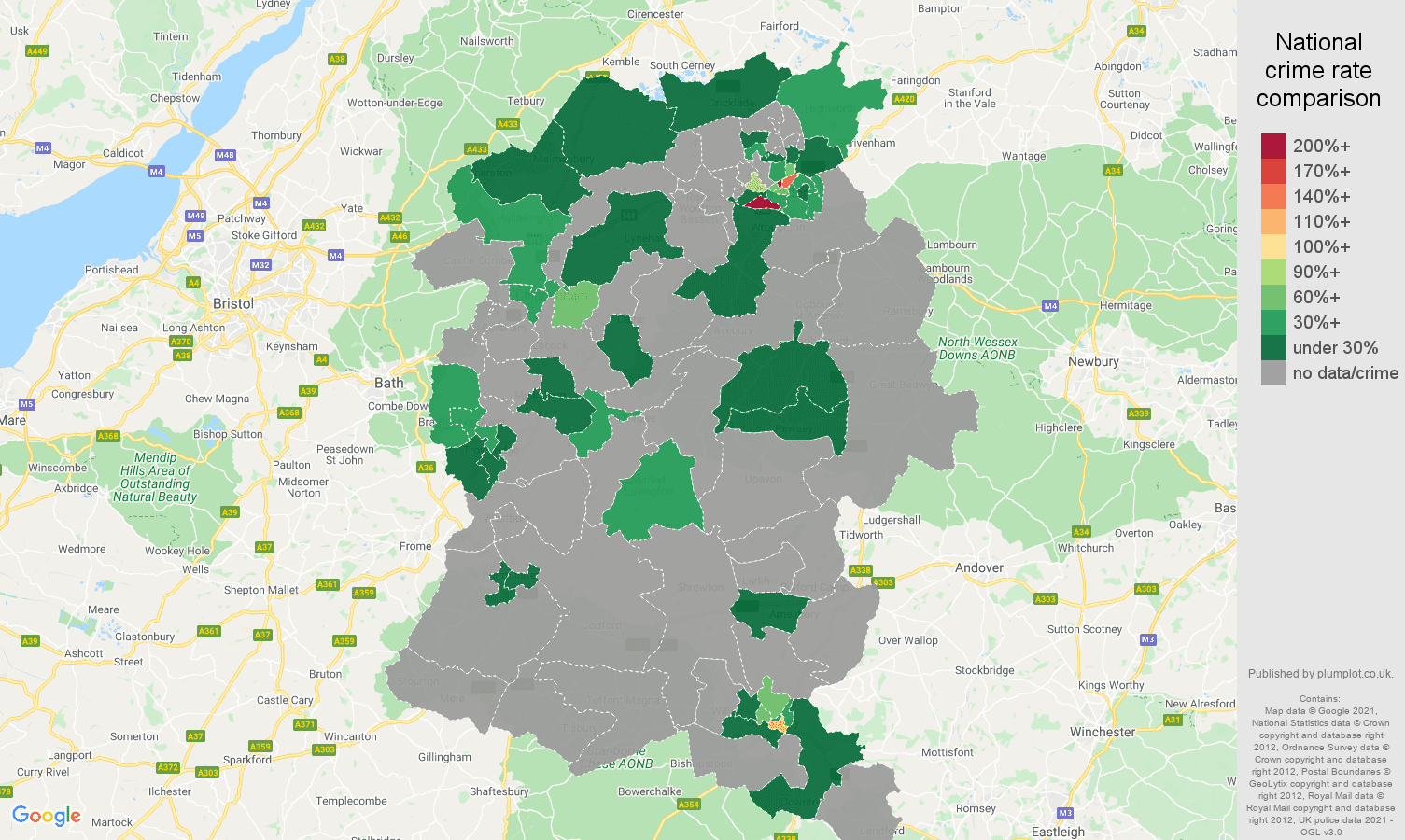 Wiltshire theft from the person crime rate comparison map