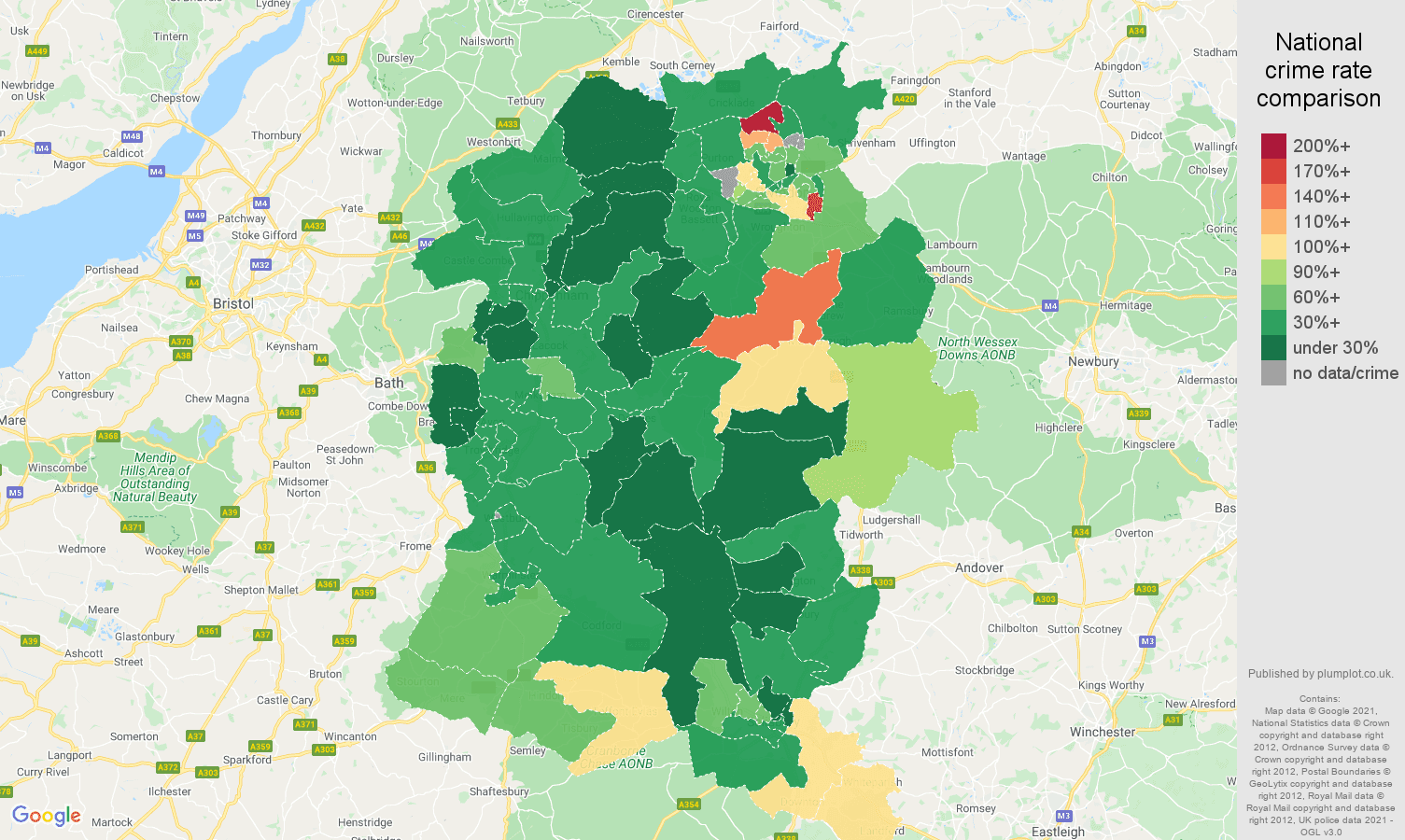 Wiltshire vehicle crime rate comparison map