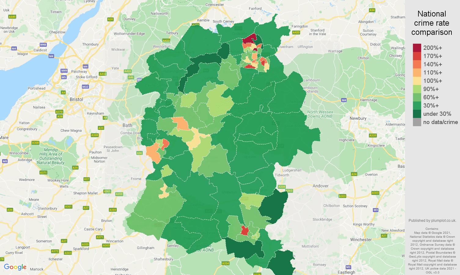 Wiltshire violent crime rate comparison map